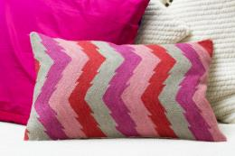 Pink chevron stripe crewel work wool cushion, £27