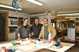 Master craftsman Keith Sealey flanked by the terrifically talented furniture-making twins Chris (left) and Alex Boam in their Lutterworth workshops