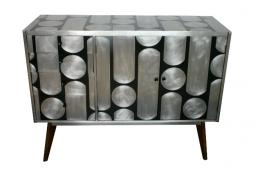 Upcycled sideboard by Kate Noakes. Surface is covered with metal and inlaid with gesso and pigment
