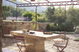 A stone table for outside dining