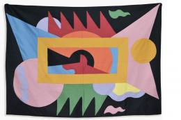 Kandissone geometric tapestry panel by Alessandro Mendini for Studio Alchimea, Italy, C1980. est £5-7,000