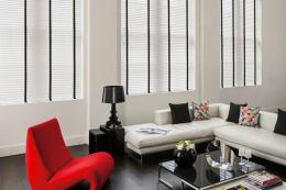 Timberlux wooden blinds with contrasting tapes. www.timberlux.co.uk