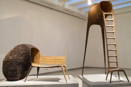 Tree Chair and Tree Bench, 2009. The chair grows into a tree and becomes part of the material it's made from