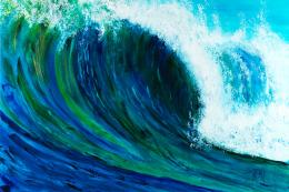 Waves rolling in. The artist likes to paint in a way that makes the viewer almost feel they're in the wave