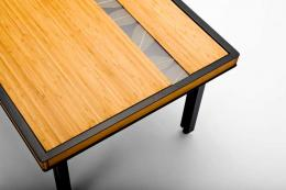 Bill More combines steel with bamboo and a patterned strip of natural leaves embedded in resin in his lovely Ventralis coffee table £900. www.billmoredesign.com