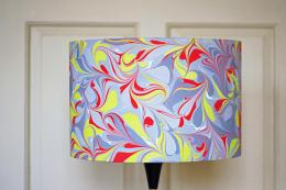 Hand-marbled Berlin drum silk shade by textile designer Janey Whitehorn, from £99. www.janeywhitehorn.com