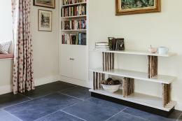 Merthen bookcase by Cornish maker Henry Swanzy uses local coppiced hazel wood. www.henryswanzy.com