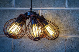 Eco Filament bulbs in FactoryLux's raw steel bulb guards