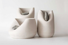 Ceramic vases with raw stones