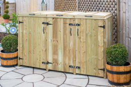 The treated softwood unit costs £312 and holds 1xwheelie bin and 4xrecycling boxes. www.thegardenvillage.co.uk
