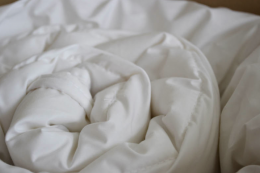 The Natural Bed Company in Sheffield offers unbleached wool or goose down duvets. www.naturalbedcompany.co.uk