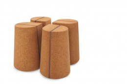 Corkdrop side tables are made from solid high density cork with a central band of walnut wood, POA. By North Carolina-based Skram, www skramfurniture.com