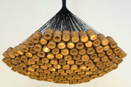 Made to order, LED chandelier by London design Alkesh Parmar is made from champagne corks. www.alkeshparmar.com
