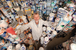 Keith Harrison of Newline Paints; his award winning work has resulted in new paints made from recycled paint. newlifepaint.co.uk