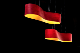 New to the LZF catalogue, New Wave suspension light by Ray Power. Choose from red or blue for the outer layer
