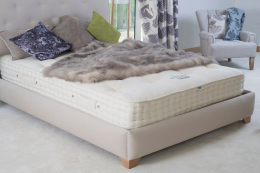 Top of the range Topsham natural mattress from Devon's Cottonsafe Natural Mattress, a small family company that hand makes beds using no FR chemicals. £1,700 to £2,924