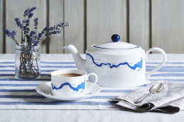 One for Londoners - bone china tea cup and teapot screen printed with map of the River Thames by Snowden Flood. Cup and saucer £30, or set £125. snowdenflood.com