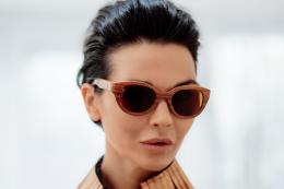 Wood framed sunglasses by UK's Campbell Marson, which also offers wood flooring. These lightweight glasses are top of the range and cost around..brace yourself.. £500. Find at Harrods  and Arthur Morrice opticians