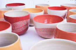 Funky colourful ceramics by Judit Esztergomi. Handmade in Britain