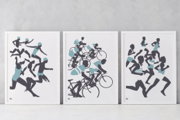 New artwork from the UK's Bold & Noble. Triathlon - set of three prints, unframed, £120, or £45 for one. www.boldandnoble.com