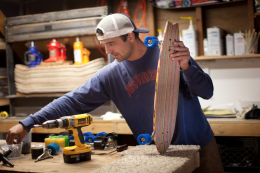 The San Francisco workshop where Iris boards are handmade using recycled skateboards