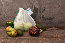 start carrying a reusable bag for loose produce when you go shopping