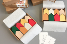 Tiny Christmas houses - wood decorations by Madrid's Mad-Lab, 41.20 euros for box of 8
