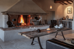 An open fire - eek not that eco we know - provides warmth in winter