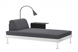 Delaktig single rectangular platform made into a daybed using a headrest and side shelf. New grey upholstery