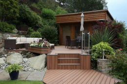 Trex decking is a US brand widely available in the UK. It makes products using 95 per cent recycled wood waste and plastic bags