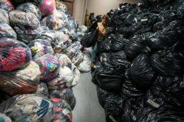 Take textile waste to your recycling centre or to a charity shop as they can 'rag ' it of money even if they can't sell the item if it's too worn