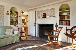 Block-printed wallpaper hangs on the walls of the living room in Stillmeadow Farm in Southbury, Connecticut