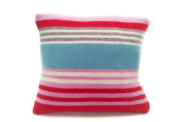 Colourful striped wool lambswool cushion from Quiirk