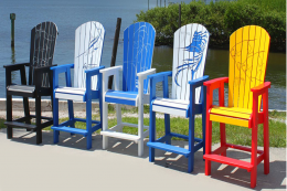 Funky colourful recycled PVC chairs by Guy Harvey Furniture for Florida's Recycled Plastic Factory. www.recycledplasticfactory.com