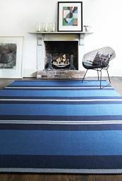 Blue stripe flat weave wool rug from British company Roger Oates. www.rogeroates.com
