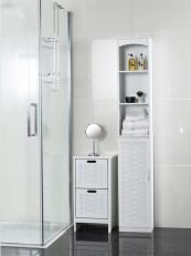 Choose very slim cabinets for small bathrooms such as these wooden units from Roman At Home. Tall unit £92, H172xW30xD24cms.