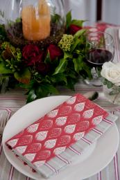 Organic cotton napkins in Isabella Red from Cottage In The Hills. Made in EU. 45x45cm, £10
