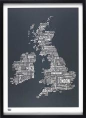 Graphic map of UK by Bold & Noble