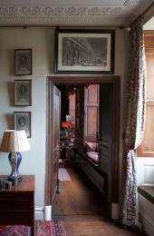 A view to the panelled drawing room