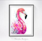 Exuberant Flamingo print by artist Bulgarian artist Slaveika Aladjova, who sells on Etsy. Prints on Hahnemuhle paper from £16.39 + shipping
