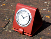Leather travel clock from Ettinger, a UK leather goods specialist. www.ettinger.co.uk