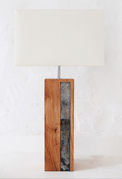 Reclaimed oak and Cornish slate table lamp by Pacha Design, £195  www.pachadesign.co.uk www.madebyhandonline.com