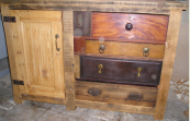 Chest made from antique timbers in a reclaimed pine frame, L135xD48.5xH90.5cm. www.greenmanrecycledfurniture.co.uk