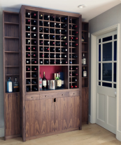 Black American walnut wine cabinet by Sealey Furniture. www.sealeyfurniture.co.uk