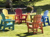 US-manufactured Adirondack chairs are made from recycled plastic Polywood. Available in the UK through DMMP, www.dmmp.co.uk