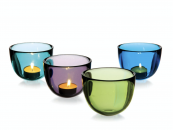Hand made thick glass bowls by David Mellor Design, 10cm, £19 each, choice of 4 iridescent colours