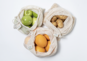 Organic cotton mesh bags for fruit and veg. Easy storing in fridge or when buying loose veg etc at supermarket. By Tabitha Eve at Wearth London. From £3