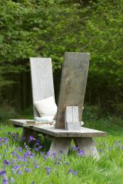 Green oak Love Seat by Marnie Moyle's Green Oak Furniture is held together with wedges, £3,200. www.greenoakfurniture.co.uk