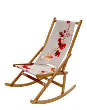Beech Folding Rocking Chair made in London by WAWA. Sunbrella water-repellent fabric can be returned to WAWA for recycling, £298. www.wawa.co.uk