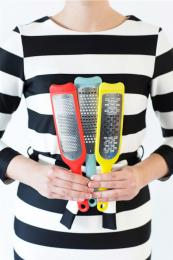 Brabantia's new flat graters in bold colours, £7.95. Recyclable polypropylene and metal